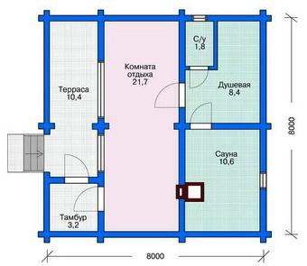 Эскиз рубленого 1 этажного жилого дома